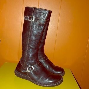 BORN Black Leather Knee High Riding Boots
